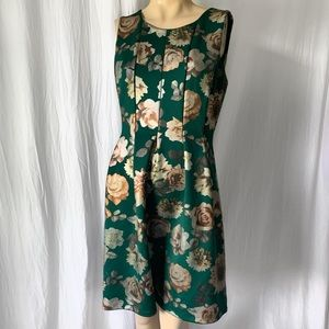 Green A-line Dress with Metallic Floral Print